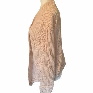 CREAM Textured open front Knit Cardigan Blush Pink
